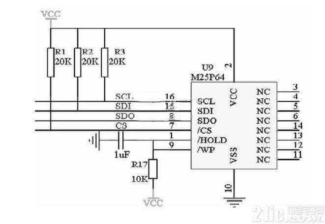(5)对7,15,16角外接上拉电阻,提高芯片输入信号的噪声容限增强抗干扰